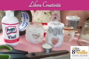 Portacandele con sale grosso -Libera creatività - Attivita online Centro Totila - Progetto Cantiere Totila - Associazione Pianeta Giovani
